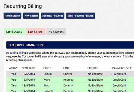 credit card recurring billing application