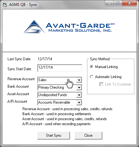 Select a Revenue Account, Bank Account, Asset Account, and A/R account