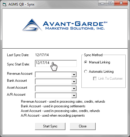 Enter a Sync Start Date for the process to begin and run through the most current transaction