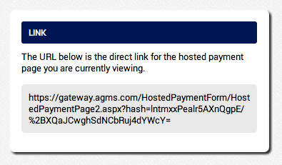 provide customers with an AGMS Gateway Hosted Payment Page link
