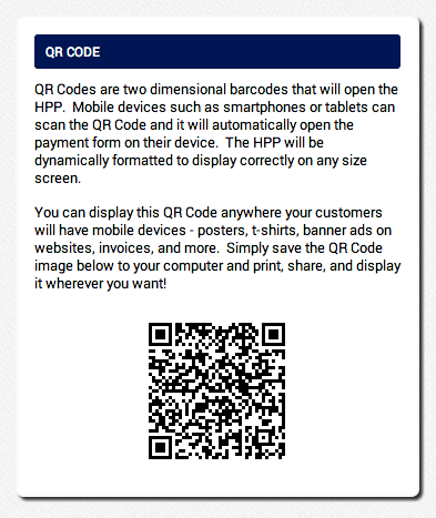 customers can scan an AGMS Gateway Hosted Payment Page QR code