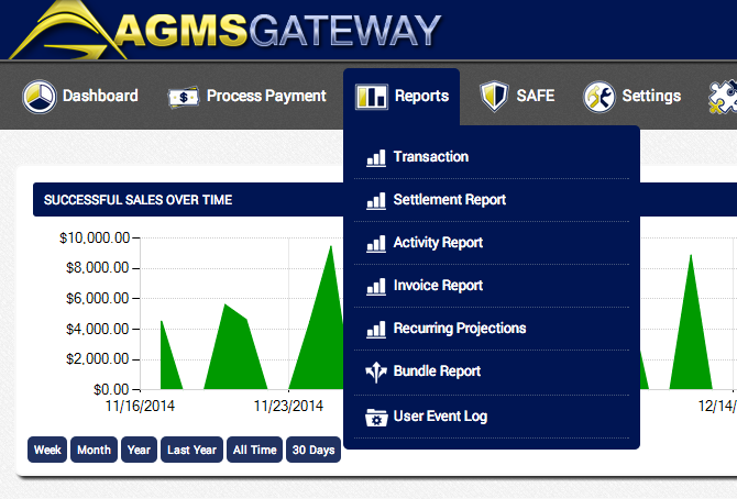 AGMS Gateway reports menu