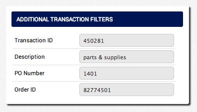 AGMS Gateway Transaction Report additional transaction filters