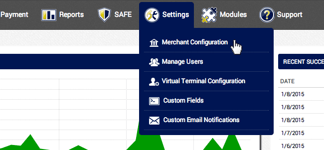 In the AGMS Gateway, navigate to Settings and click Merchant Configuration