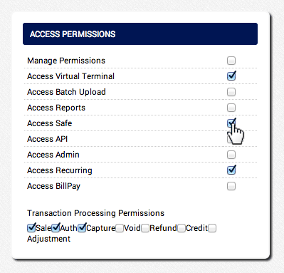Set the user's Access Permissions